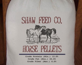 Feed Sack, Flour Sack Bag, Prim Decor, Horse Sack, Country Decor, Muslin Bag, Vintage Feed Sack, Cotton Sack, Shaw Feed Co. Horse Pellets