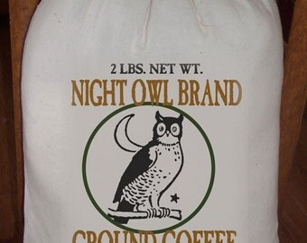 Feed Sack, Flour Sack Bag, Coffee Sack, Prim Decor, Country Decor, Muslin Sack, Vintage Feed Sack, Night Owl Brand Ground Coffee