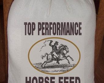 10 X 16 Large Primitive Feed Sack Top Performance Horse Feed Gift Sack, Cotton Sack, Novelty Sack