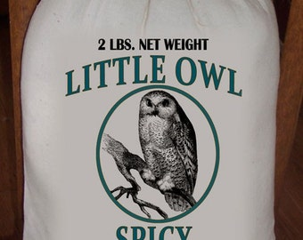 Feed Sack, Flour Sack Bag, Owl Sack, Prim Decor, Country Decor, Muslin Bag, Vintage Feed Sack, Cotton Sack, Little Owl Spicy Blended Tea
