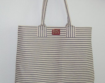vintage style ticking beach and market bag