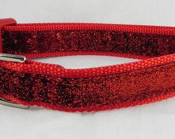 Red Metallic Sparkle Dog Collar