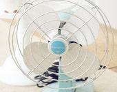 HOLD FOR ROSA- Vintage Aqua/Turquoise Eskimo Fan