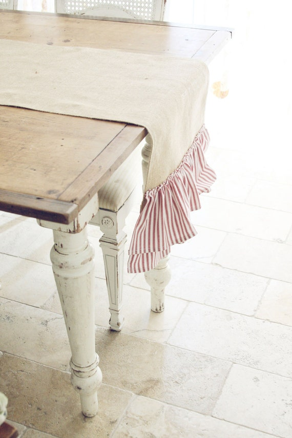 Handmade Burlap Table Runner with Red and White Ticking Stripe Double Ruffle- Christmas Decor
