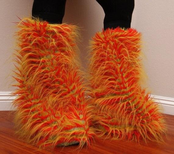 Orange Sun Fuzzy Leg Warmers