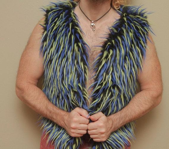 Faux Fur Water Vest For Men - Fully Reversible UV Reactive