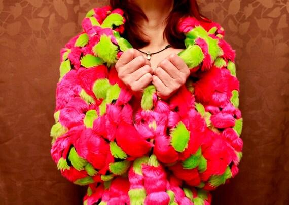 Pink/Green Bubble Fur Coat - Size M