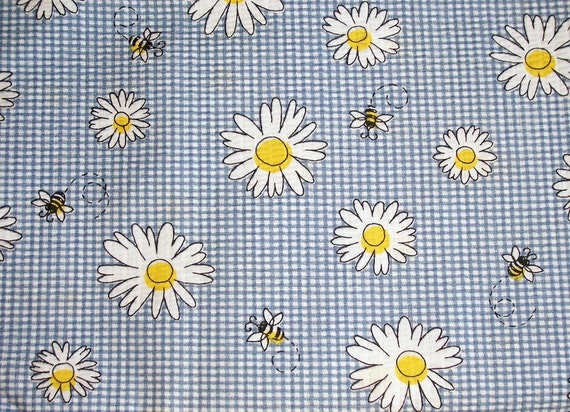 BLUE and WHITE Check with Daisies and Bumble Bees   Fabric  -  1.5 yards  -  5.00
