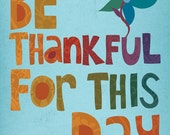 Thankful - 8x10 Art Print, colorful, hand-lettered print