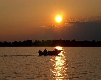 Fisherman on Round Lake, Limited Edition Fine Art Digital Photograph in 5x7, 8x10, 11x14 and more