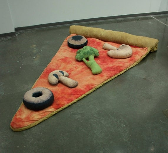 slice of pizza sleeping bag w veggie pillows deposit. Black Bedroom Furniture Sets. Home Design Ideas