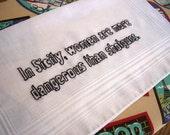 Danger.  Hand Embroidered Godfather Handkerchief