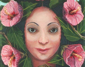 Althea, or Rose of Sharon ORIGINAL PAINTING framed oil on linen Pink Flowers woman plant spirit Unique Gift for gardener - Free USA shipping