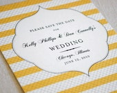 Striped save the date and invitation