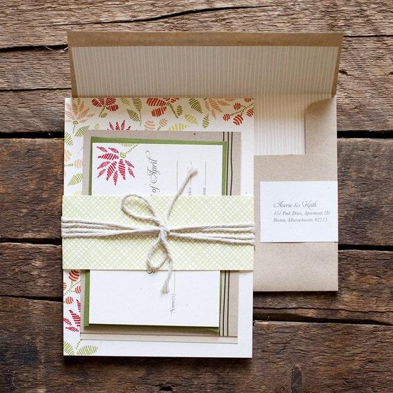 Embroidered wedding invitation