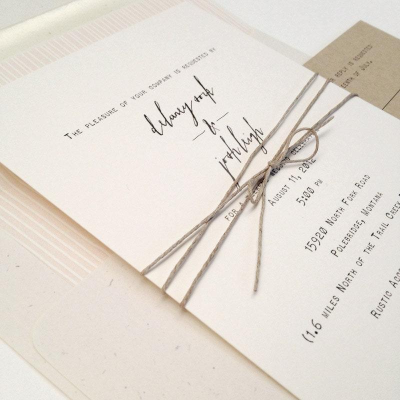 Simple Second Wedding Ideas: Rustic Wedding Invitation Elegant Wedding Invitation Simple