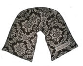 Microwave Heat Wrap,  Heating Pad ,Therapy Neck Wrap W/ REMOVABLE COVER - Chocolate Brown Damask