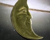 CELESTIAL ornament  Large CRESCENT MOON  (Right Facing) Dresden gold foil die cut Victorian Scrap