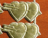 10 DOUBLE HEARTS with ARROW gold foil Dresdens from Germany