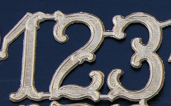 Rose Gold NUMBERS (2 sets of 0-9) embossed die cut foil Dresdens Victorian Scrap Art Mixed Media Embellishment