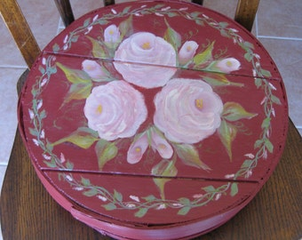 Hand Painted Vintage Wooden Cheese Box Pink Roses