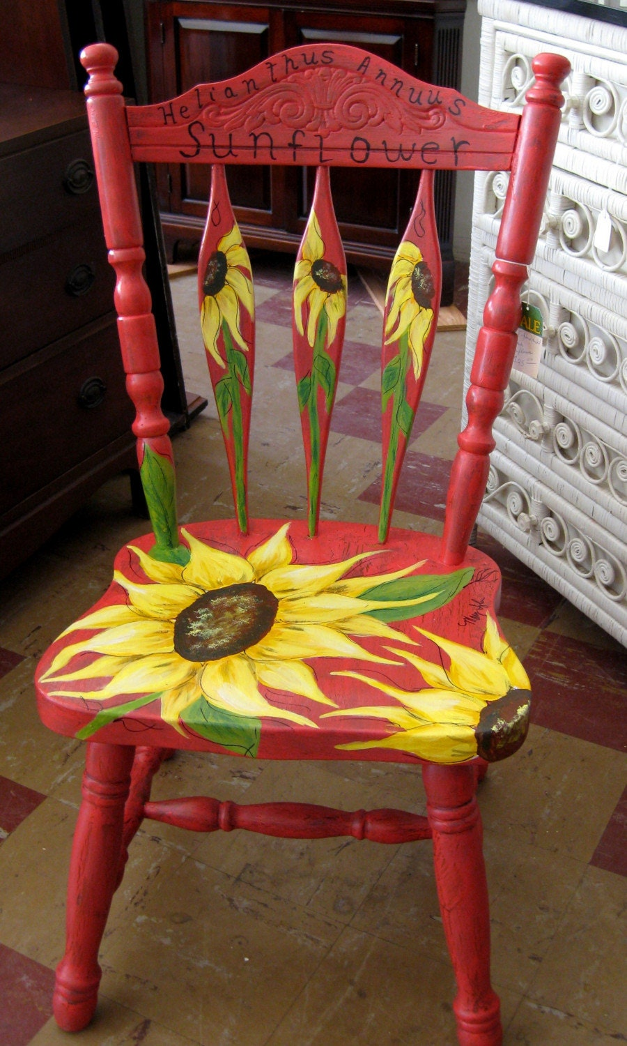 Hand Painted Sunflower Chair