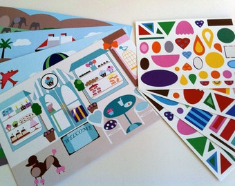 Kids' Hidden Shape Sticker Scenes, Four Scene Cards w/ Over 100 Stickers, Travel Game, Party Favor
