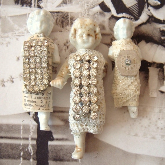 3 Rhinestone Embellished Frozen Charlotte Dolls Lot 4