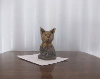 Terracotta Clay Cat Paperweight ..Heavy..