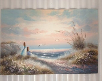 Large 24 x 36 Oil Painting Girls on Beach with Seagulls on canvas.. signed
