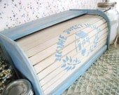 Shabby Chic Powder Blue and Ivory Bread Box Kitchen Decor