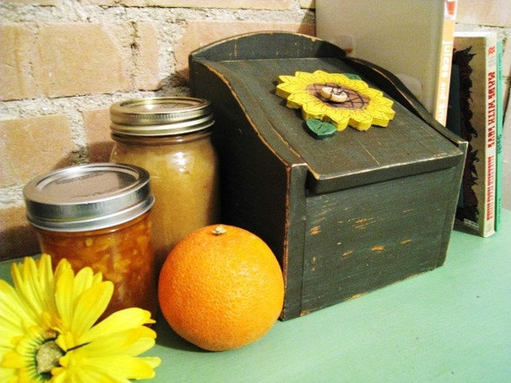 Wooden Sunflower Kitchen Decor Recipe Box