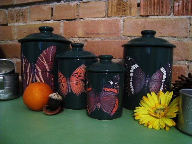 Green Butterfly Kitchen Canister Set Kitchen Decor Zoom