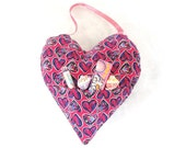 Hanging heart, pocket door decor, love note holder, girl bedroom, gifts for 7 dollars