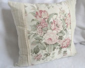 Romantic Cottage Shabby Chic Pillow: Floral, stripes & ribbon 16 inches with insert, decorative throw