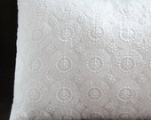 "Pillow cover white circles eyelet, 12x16"", 12"", 14"", 16"", 18, 20"", 22 inches or custom sizes, pure white pillow cover"