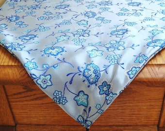 Table runner blue floral Jacquard satin, console, tassels, elegant table decor, 43 inches
