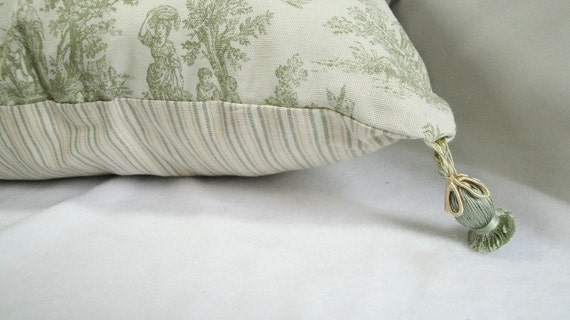 Shabby cottage Toile Pillow: French Country cottage, Tassels, tea green, stripes, One-of-a-kind, 19 inches with insert