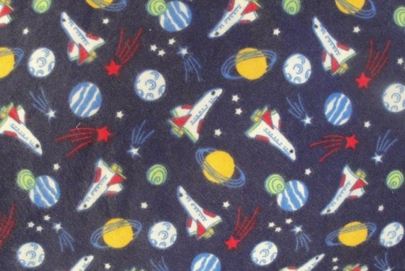 Space shuttle fabric flannel dark blue saturn planets for Space flannel fabric