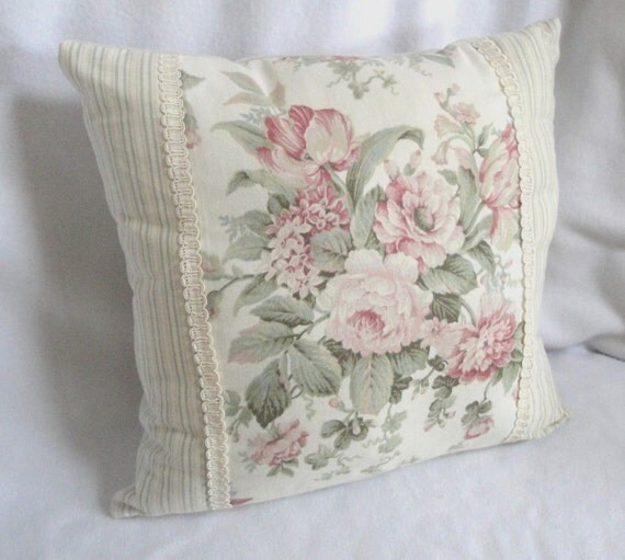 Romantic Cottage Shabby Chic Pillow: Floral stripes & ribbon
