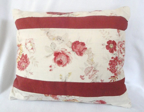 Etsy Shabby Chic Throw Pillows : Cottage Chic throw pillow: stripes shabby antique roses