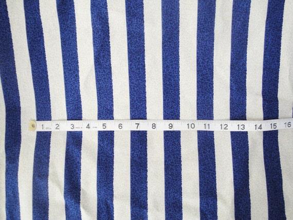 Fabric vintage Blue tan stripe, crackle pattern, khaki, Duralee, 1980's, nautical, 1 yard, 3 yards available