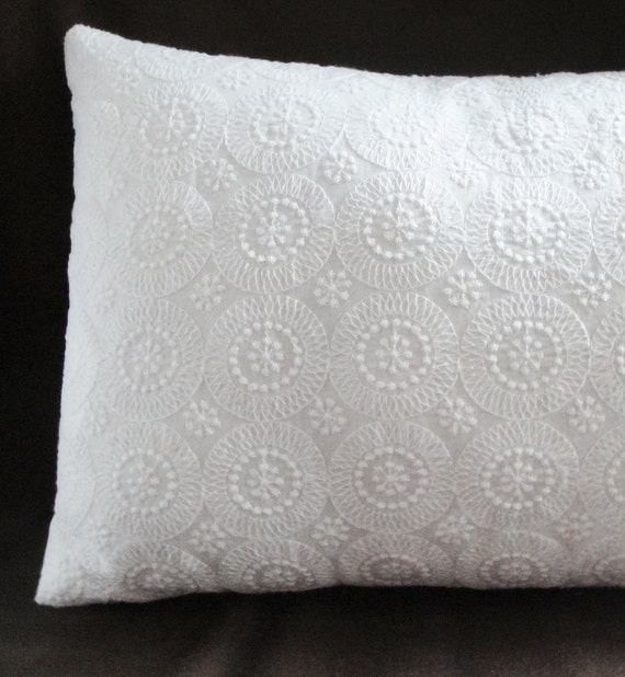 """Pillow cover white circles eyelet, 12x16"""", 12"""", 14"""", 16"""", 18, 20"""", 22 inches or custom sizes, pure white pillow cover"""
