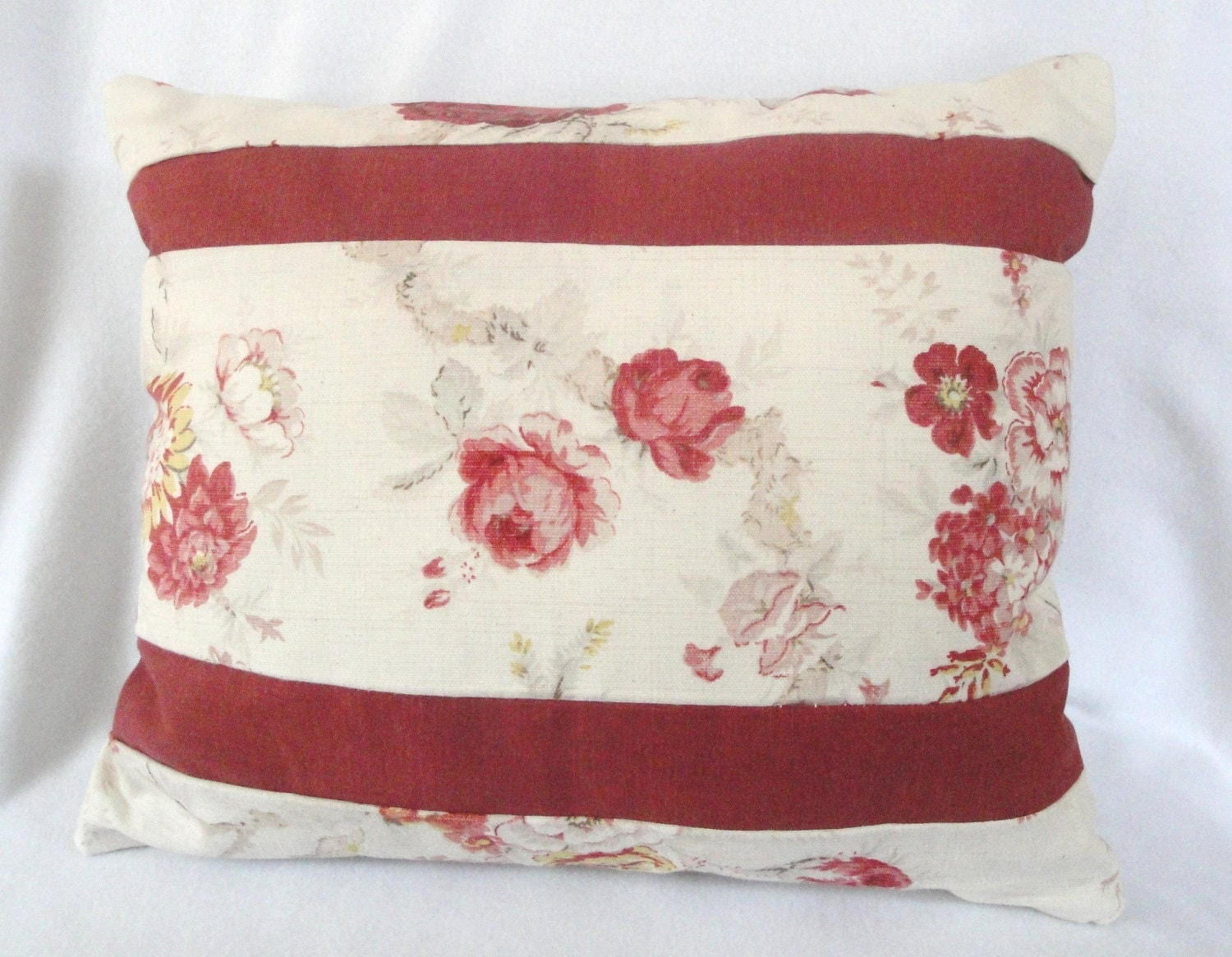 Shabby Chic Toss Pillows : Cottage Chic throw pillow: stripes shabby antique roses