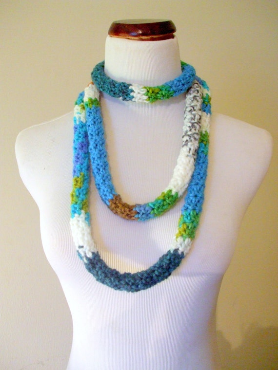 Crochet Serpentine Rope Scarf Necklace in  Persian Mix