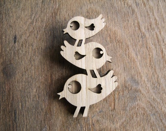 Bird Trio Brooch, Trio of birds jewellery, Bird stack, Bird Family Brooch