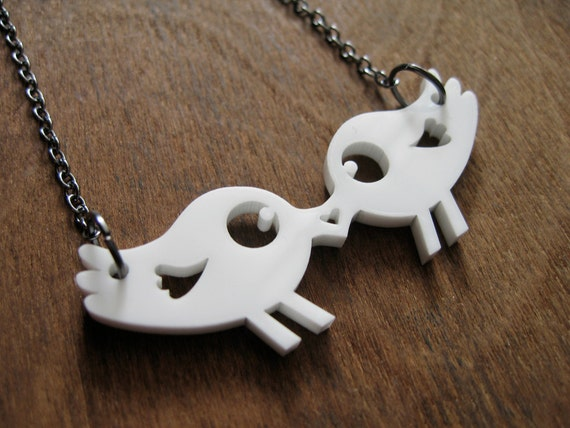 Love Tweets Snowy Bird Pendant