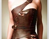 Gula Asymmetrical Over Bust Leather Corset