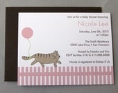 RESERVED FOR CHRISTINA - Cat with Pink Balloon A2 Flat Note Baby Shower Invitations (Choose your envelope color) (Set of 30)