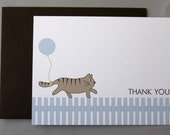 Cat with Blue Balloon Baby Shower (Thank You) A2 Flat Note Cards (Choose your envelope color) (Set of 10)